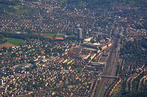 Winterthur - May 2011 aerial view of Winterthur