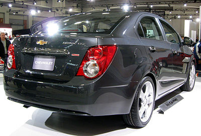 2012 Chevrolet Sonic LTZ sedan rear -- 2011 DC.jpg