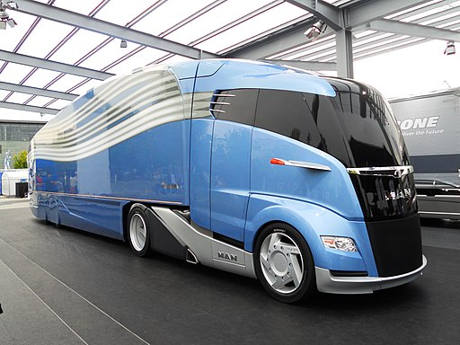 2012 MAN Concept truck with Krone AeroLiner. Facing right. Spielvogel