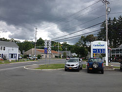 Intersection of NY 43, NY 66 and CR 42 in Sand Lake