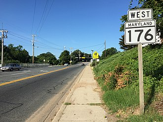 Maryland Route 176 - View west from the east end of MD 176 at MD 648 in Glen Burnie