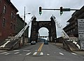 2017-07-23 12 04 26 View west along West Virginia State Route 251 (Wheeling Suspension Bridge) at West Virginia State Route 2 (Main Street) in Wheeling, Ohio County, West Virginia.jpg