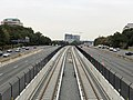2018-10-26 11 08 49 View east along Virginia State Route 267 (Dulles Toll and Access Roads) and the Silver Line of the Washington Metro from the overpass for Virginia State Route 602 (Reston Parkway) in Reston, Fairfax County, Virginia.jpg