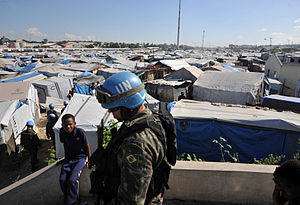 United Nations Stabilisation Mission in Haiti - Brazilian soldiers patrol the camp Jean Marie Vincent in Port-au-Prince, Haiti