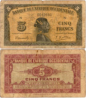 French West African franc - A 1943 5 French West African franc note