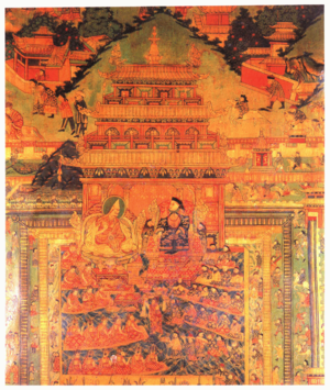 Tibet under Qing rule - Potala Palace painting of the 5th Dalai Lama meeting the Shunzhi Emperor in Beijing, 1653.