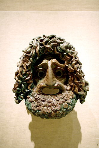 Silanion - Tragic mask in bronze, attributed to Silanion. Museum of Piraeus, Athens, Greece.