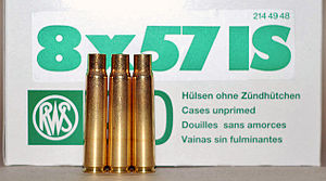 7.92×57mm Mauser - German made unprimed cases with their packaging box displaying the C.I.P. 8 × 57 IS cartridge designation.