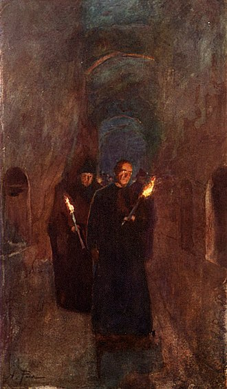 Catacombs of Rome - A Procession in the Catacomb of Callixtus, 1905 by Alberto Pisa