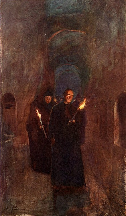 A procession in the Catacomb of Callixtus, a site of several ancient papal tombs. By Alberto Pisa, 1905 A-Procession-in-the-Catacomb-of-Callistus.jpg