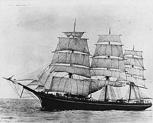 A.J. Fuller (ship, 1881), a full rigged sailing ship at sea.jpg