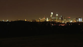 Belmont Mansion (Philadelphia) - City skyline at night from mansion