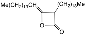 Alkyl ketene dimer - structure of the AKD derived from palmitic acid.