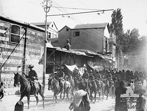 Harry Chauvel - Lieutenant General Sir Harry Chauvel, Commander in Chief, Desert Mounted Corps leading his troops through Damascus on 2 October 1918 the day after his corps captured the city