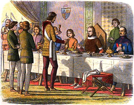 The Black Prince serving a meal to the recently captured King John II. A Chronicle of England - Page 309 - The Prince Serves King John at Table.jpg