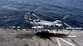 A U.S. Marine Corps CH-46 Sea Knight helicopter assigned to Marine Medium Helicopter Squadron (HMM) 165 takes off from the flight deck of amphibious assault ship USS Peleliu (LHA 5), under way in the north 100818-N-VN598-053.jpg