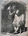 A female hair-dresser combing a man's hair. Wood engraving. Wellcome V0019770.jpg