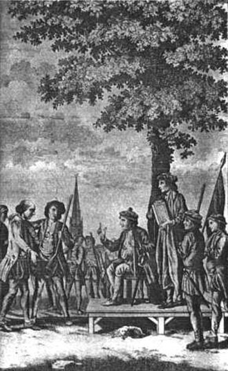 Kett's Rebellion - An 18th-century depiction of Robert Kett and his followers under the Oak of Reformation on
