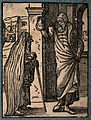 A hooded physician examining a urine specimen, brought to hi Wellcome V0016043.jpg