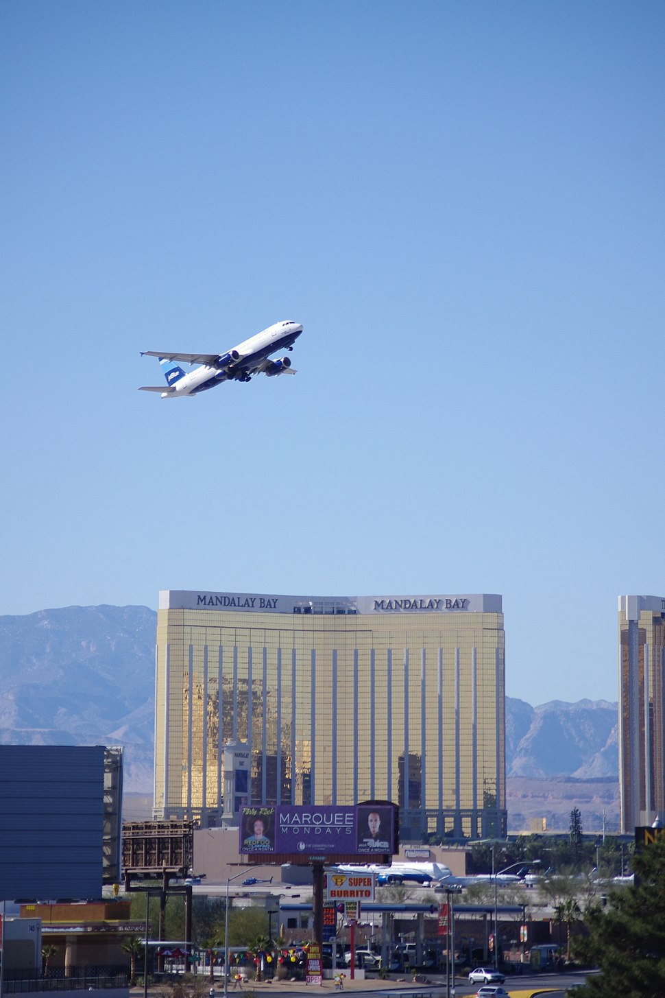 A jetBlue's jet is taking off from McCarran Airport