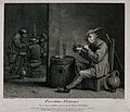 A man sits at a barrel-table to light his pipe, others in th Wellcome V0019038.jpg
