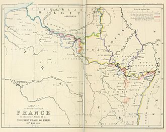 Treaty of Paris (1814) - Image: A map of the Eastern boundary of France to illustrate Article III in The First Peace of Paris 30th May 1814