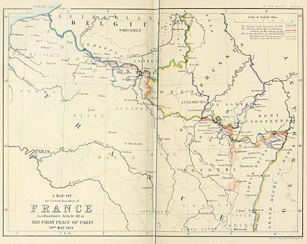 Eastern boundary of France as defined in Article III of the First Peace of Paris (30th May 1814) A map of the Eastern boundary of France to illustrate Article III in The First Peace of Paris 30th May 1814.jpg