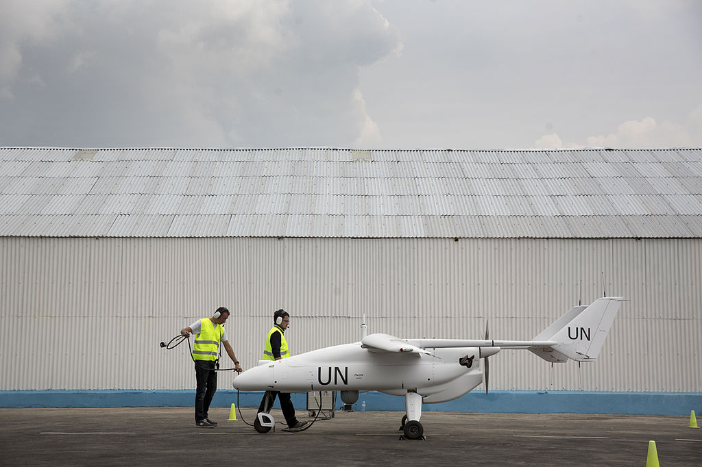 A team of technicians prepares for the inaugural flight of an Unmanned-Unarmed Aerial Vehicles (UAV) in Goma, North Kivu province (11189522286) .jpg