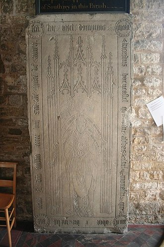 Bardney Abbey - Grave of former abbot Richard Horncastle, in nearby church of St Lawrence, Bardney