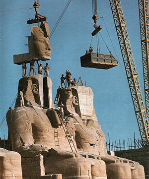Abu Simbel temples - The statue of Ramses the Great at the Great Temple of Abu Simbel is reassembled after having been moved in 1967 to save it from flooding.