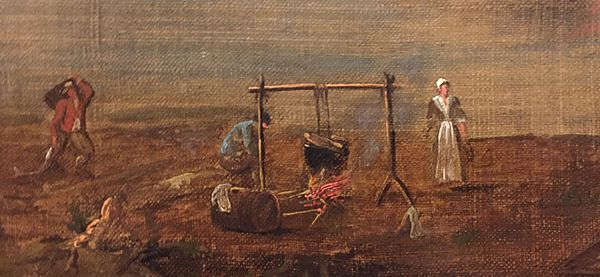 Acadians at Annapolis Royal, by Samuel Scott, 1751; earliest known image of Acadians Acadians 2, inset of painting by Samuel Scott of Annapolis Royal, 1751.jpg
