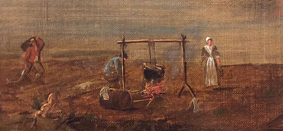 Acadians 2, inset of painting by Samuel Scott of Annapolis Royal, 1751