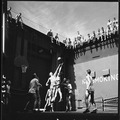 Activities aboard USS Monterey (CVL-26). Navy pilots in the forward elevator well playing basketball. - NARA - 520764.tif