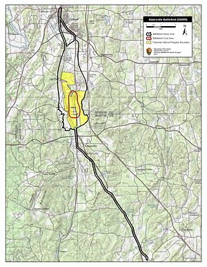 Battle of Adairsville - Map of Adairsville Battlefield core and study areas by the American Battlefield Protection Program.