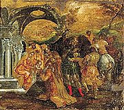 """The Adoration of the Magi (1565–1567, 56×62cm, Benaki Museum, Athens). The icon, signed by El Greco (""""Χείρ Δομήνιχου"""", Created by the hand of Doménicos), was painted in Candia on part of an old chest."""