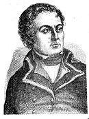 Black and white print of a curly-haired man with a small mouth. He wears a dark coat from a late 18th century military uniform.