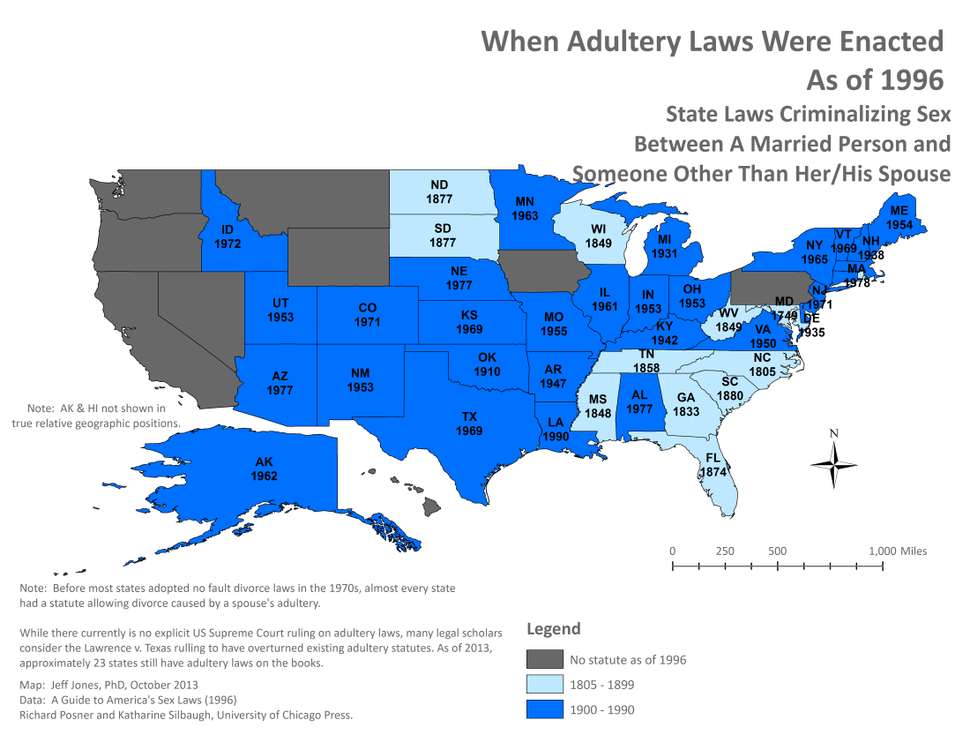 Adultery Laws Enacted Year