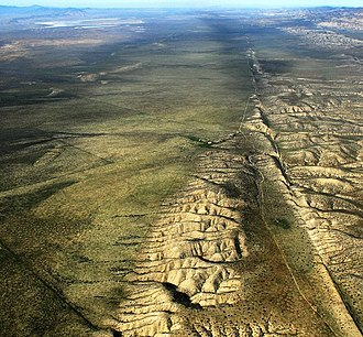 San Andreas Fault - The fault, right, and the Carrizo Plain, left