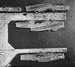 Aerial view of USS Hancock (CVA-19), USS Bon Homme Richard (CVA-31) and USS Coral Sea (CVA-43) in 1966.jpg