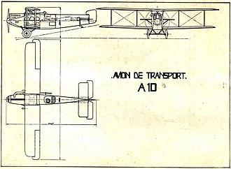 Aero A.10 - 3-view drawing