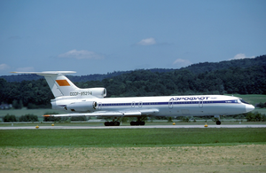 Aeroflot accidents and incidents in the 1980s - An Aeroflot Tupolev Tu-154B-1 at Zürich Airport. (1982)