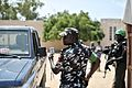 African Union police officers undergo a demonstration to show the correct way in which to stop and search a vehicle at General Kahiye Police Academy in Mogadishu, Somalia, on June 16. The African (14256301667).jpg