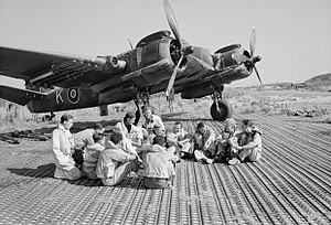 Marston Mat - RAF aircrew with one of their Bristol Beaufighters on a PSP airstrip at Biferno, Italy, August 1944