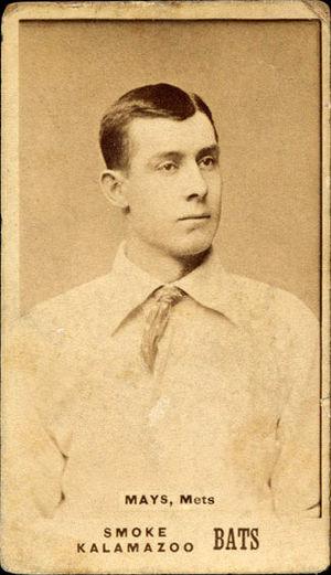 Al Mays - Image: Al Mays, 1887 N690 Kalamazoo Bats card