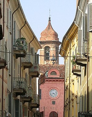 Alba, Piedmont - A view of Via Vittorio Emanuele in the center of Alba.