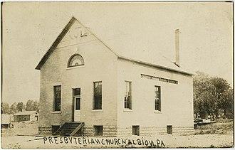 Albion, Pennsylvania - Albion Presbyterian Church from a pre-1923 postcard