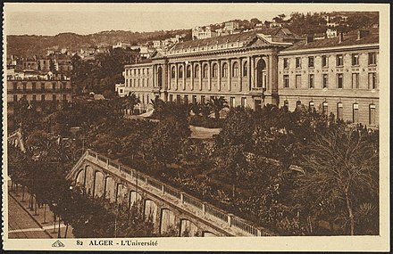 A 20th-century postcard of the University of Algiers Algiers The University (GRI).jpg