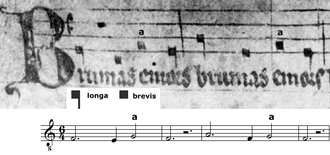 "Rhythmic mode - Tenor from Motet ""Homo, luge!""/""Homo miserabilis""/""Brumans e mors"" (13th century). Third rhythmic mode, syllabic notation."