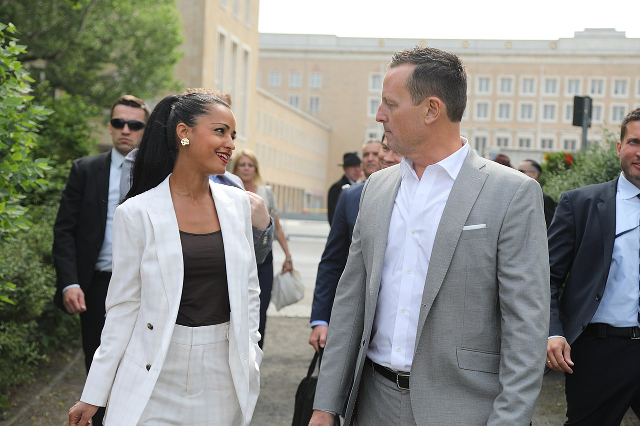 Ambassador Grenell talks to Sawsan Chebli on arriviing at the Airlift Memorial (42056185411).jpg