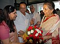 Ambika Soni being welcomed by the Principal Director General (M&C), Press Information Bureau, Smt. Neelam Kapur, on her arrival at LGBI Airport, in Guwahati on July 12, 2010.jpg